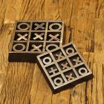 Tic Tac Toe Holz schwarz Metall Dekoration
