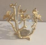 Windlicht Blumen Blumenranke Tisch Deko gold Farbton Impressionen Shabby Chic