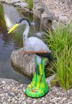 Fischreiher Gartenfigur für Gartenteich Figur Reiherschreck