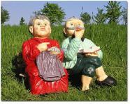 Oma & Opa auf der Bank - Haus, Hof und Gartendeko