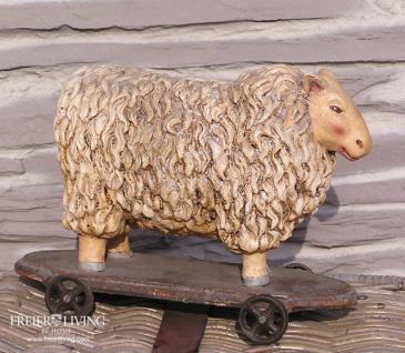 Schaf als Deko Nostalgie Ziehspielzeug Dekoration French Chic