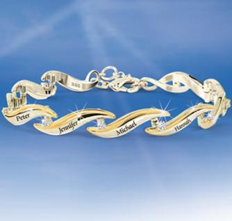 Personalisiertes Armband Familie der Liebe mit 10 Diamanten und Goldakzenten verziert