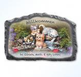 Personalisierte Willkommenstafel mit bezaubernden Katzenmotiven - Schnurrige Willkommensgrüße