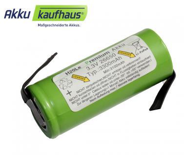 3 Volt (3, 3V) 3, 3AH 26650 LiFePo4 H2OLE Akku mit Anschlußfahnen, Durchmesser ...
