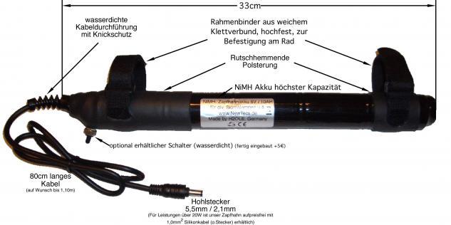 12 Volt NiMH - Zapfhahn Akku 4500mAh 10i H2Ole für 12V Lampen