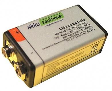 9V Block Batterie 1200mAh Lithium sehr langer Dauerbetrieb