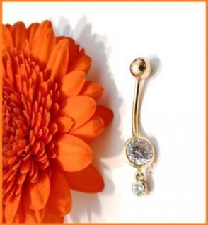 Piercing Bauchnabel Gold 5mm Zirk. mit Hänger Gold