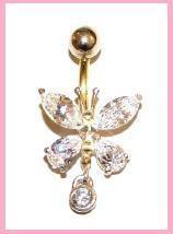 Gold Piercing Bauchnabel Schmetterling
