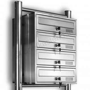 Kelvin® 4er Edelstahl Briefkasten Standanlage