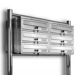 Kelvin® 6er 2x3 Edelstahl Briefkasten Standanlage
