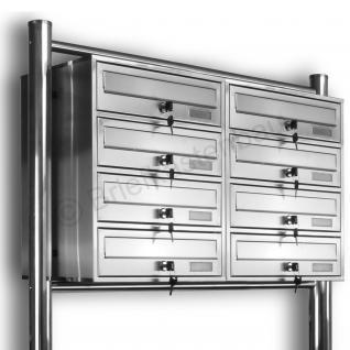 Kelvin® 8er Edelstahl Briefkasten Standanlage