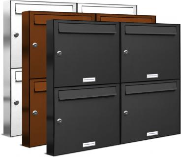 4er 2x2 Briefkastenanlage Flach pulverbeschichtet nach RAL-Farbe
