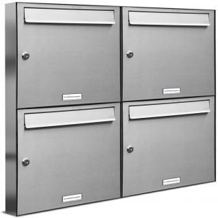 4er 2x2 Premium Edelstahl Briefkastenanlage Flach - Vorschau