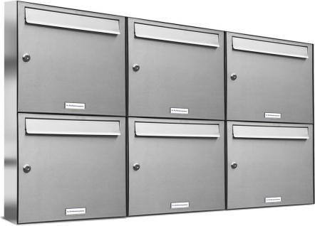 6er 3x2 Premium Edelstahl Briefkastenanlage Flach