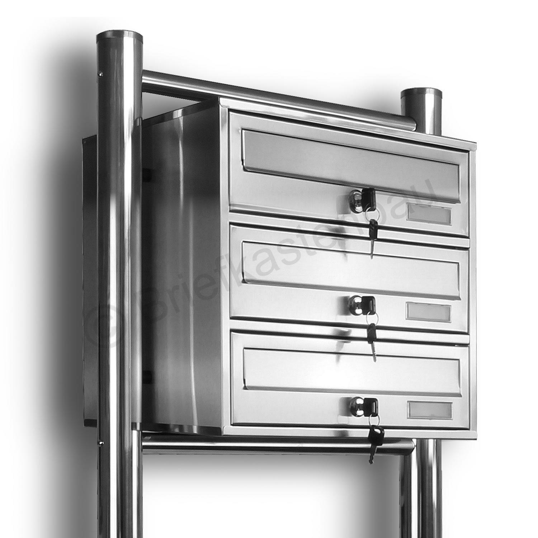 kelvin 3er edelstahl briefkasten standanlage kaufen bei al briefkastensysteme. Black Bedroom Furniture Sets. Home Design Ideas