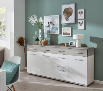 Sideboard in weiß mit Abs. in Betonoptik, Kommode