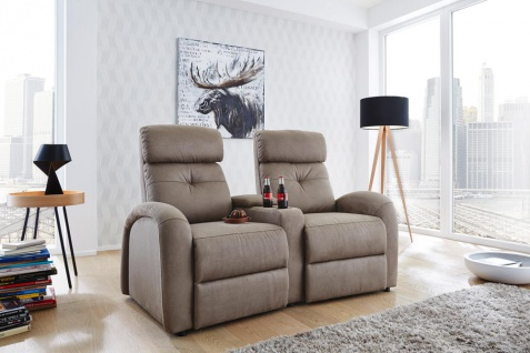 2er Cinema Sessel in Microfaser-Stoff in beige