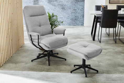 Relax Sessel, hellgrau, Webstoff, inkl. Hocker