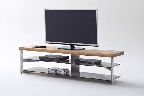 TV-Rack Gestell Metall, Deckplatte Eiche massiv
