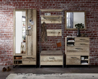 Garderobe 4-tlg. in Used Style Mix-Dekor
