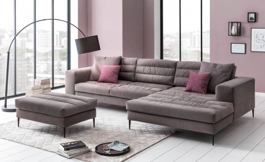 Ecksofa Microfaser in taupe