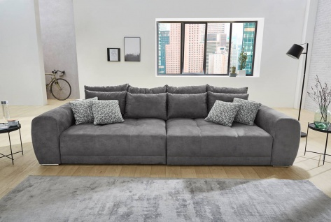 big sofa in grau mit kissen kaufen bei lifestyle4living m belvertrieb gmbh co kg. Black Bedroom Furniture Sets. Home Design Ideas
