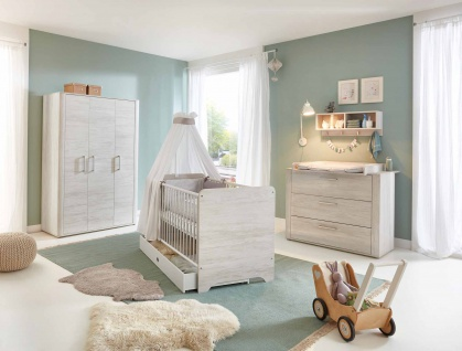 Babyzimmer Kinderzimmer, Light Wood, 4-tlg.