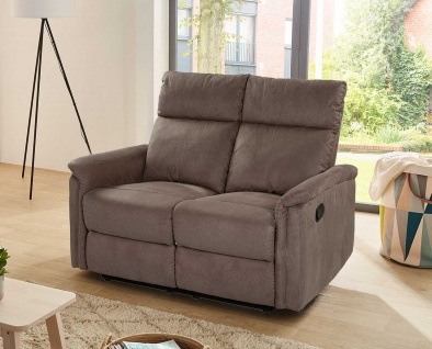 Sofa in braun Microfaser, Relaxfunktion, 2-Sitzer 1