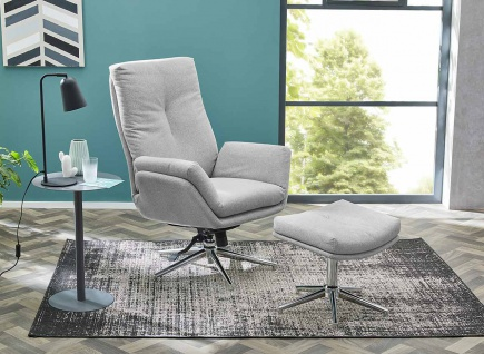 Relax Sessel, hellgrau, Webstoff, inkl. Hocker 1