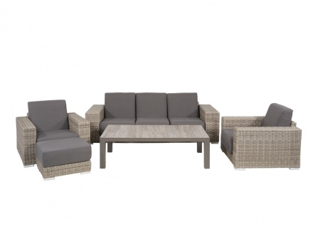 5-teiliges Lounge-Set in braun/taupe