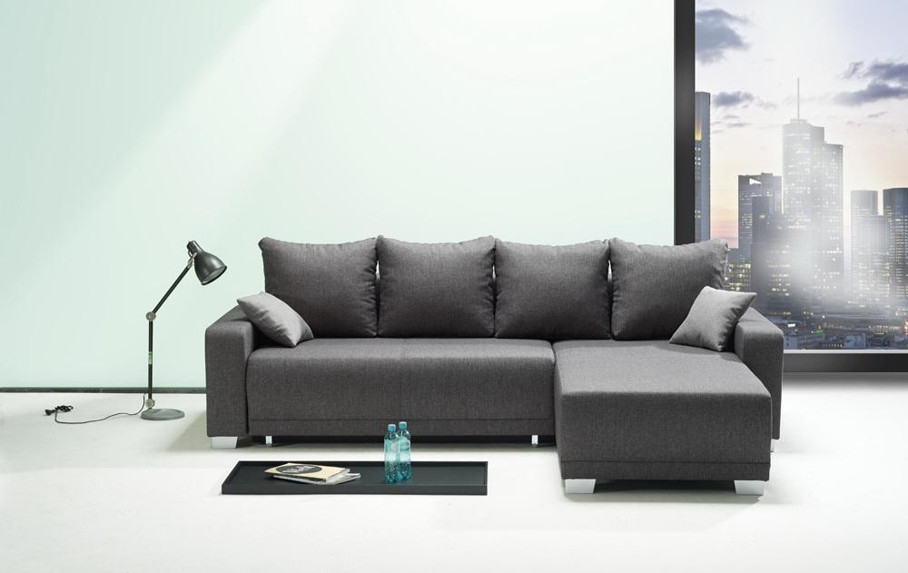ecksofa dunkelgrau mit schlaffunktion kaufen bei. Black Bedroom Furniture Sets. Home Design Ideas