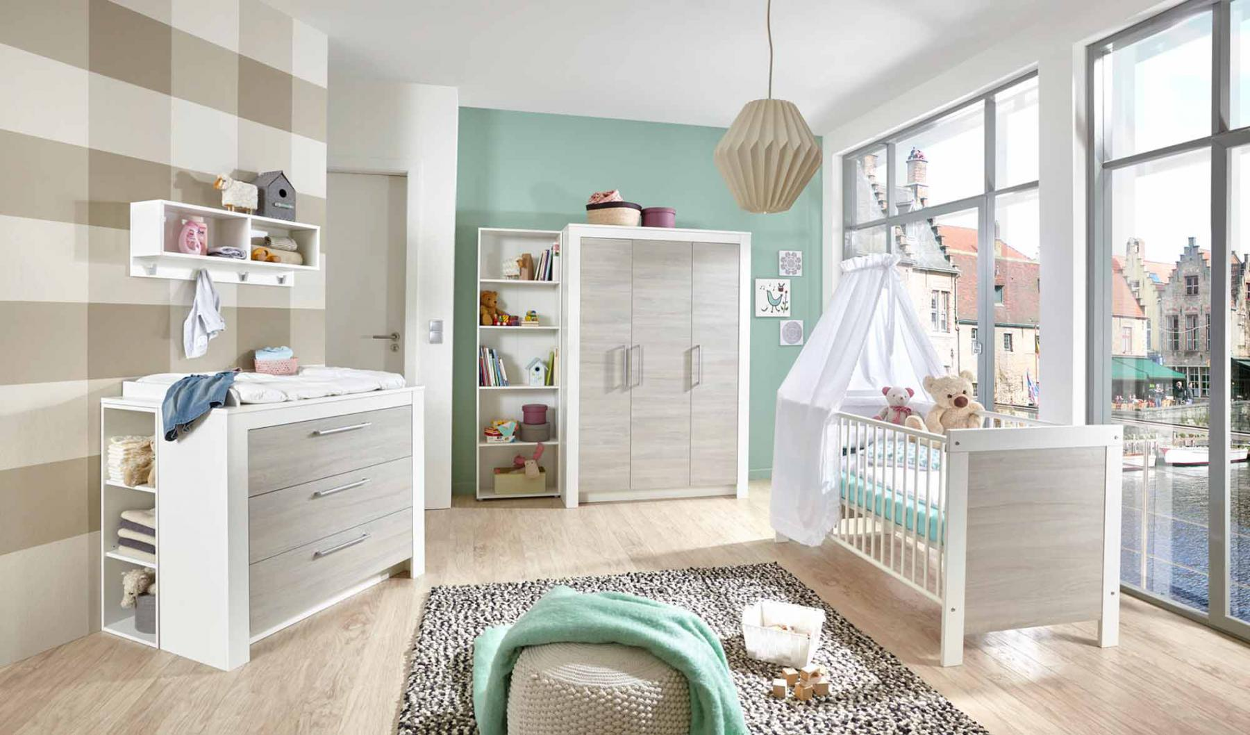 babyzimmer kinderzimmer wei silber grau ulme kaufen bei lifestyle4living m belvertrieb gmbh. Black Bedroom Furniture Sets. Home Design Ideas
