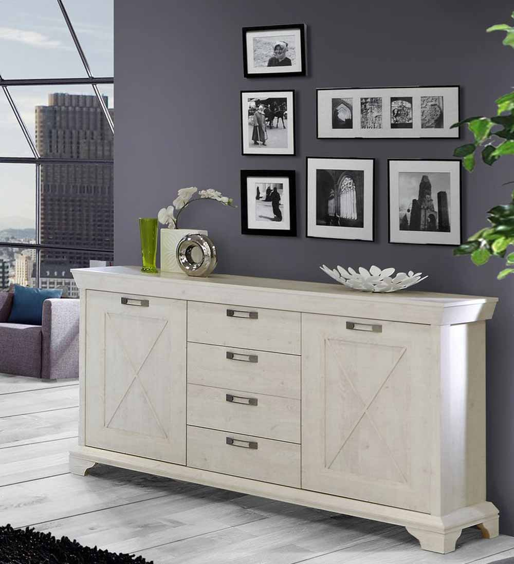 kommode sideboard landhaus pinia wei kaufen bei lifestyle4living m belvertrieb gmbh co kg. Black Bedroom Furniture Sets. Home Design Ideas