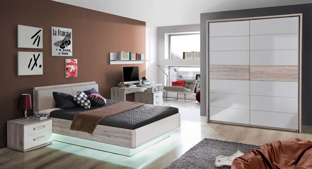 jugendzimmer in sandeiche nb und wei hochglanz kaufen bei lifestyle4living m belvertrieb gmbh. Black Bedroom Furniture Sets. Home Design Ideas