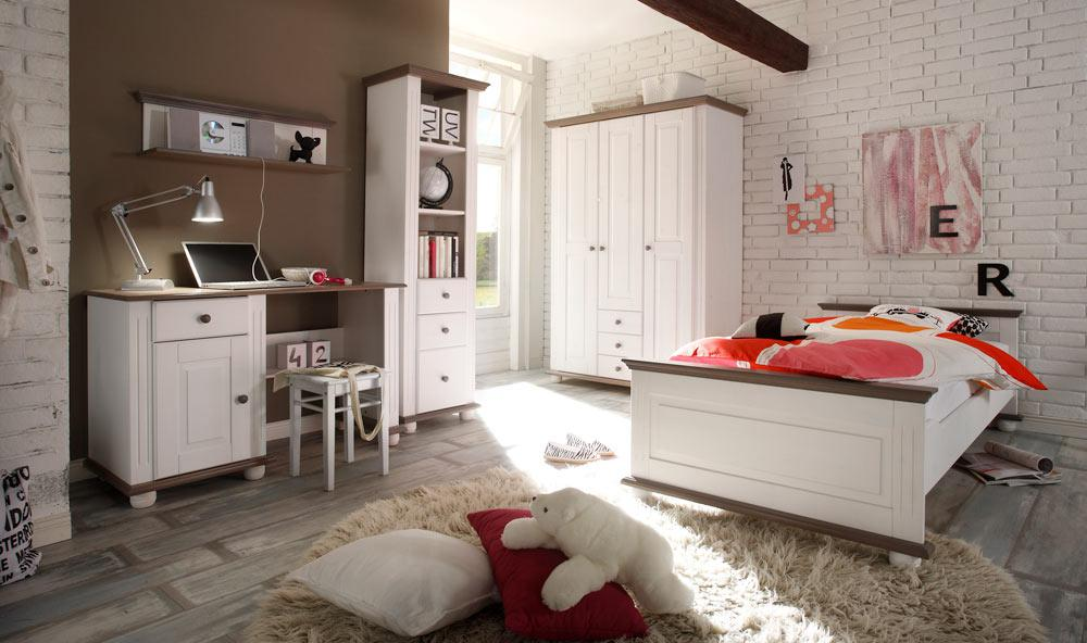 3 tlg jugendzimmer in kiefer massiv wei lava kaufen bei lifestyle4living m belvertrieb gmbh. Black Bedroom Furniture Sets. Home Design Ideas