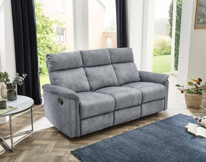 Sofa in Velour grau, Relaxfunktion, 3-Sitzer