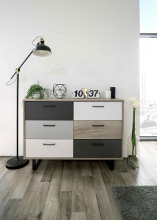 Kommode in Grey Craft Oak Nachbildung, Grau, Weiß