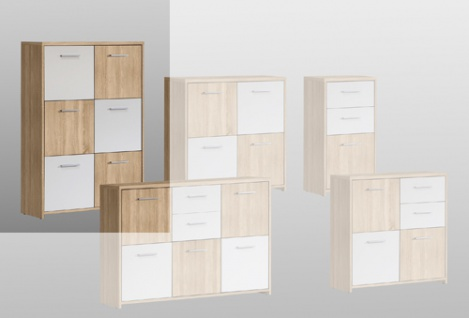 kommode sonoma eiche nb wei highboard kaufen bei lifestyle4living m belvertrieb gmbh co kg. Black Bedroom Furniture Sets. Home Design Ideas