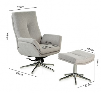 Relax Sessel, hellgrau, Webstoff, inkl. Hocker 5