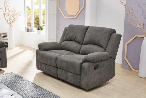Sofa in anthrazit, Relaxfunktion, 2-Sitzer