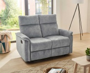 Sofa in Velour grau, Relaxfunktion, 2-Sitzer