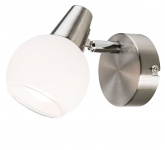 LED-Spot Nickel matt, Lampenschirm aus Opalglas