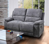Sofa in Microfaser grau, Relaxfunktion, 2-Sitzer