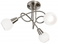 LED-Deckenleuchte, Nickel matt, Opalglas