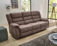 Sofa in grau braun, Relaxfunktion, 3-Sitzer