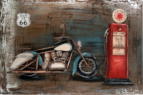 Handgefertigtes Metallbild Motorcycle Gasstation ca. 115x75 cm Kunst Bild 3D-Optik Wandbild