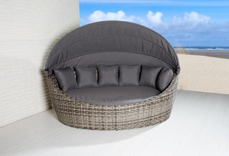 Liegeinsel Sevilla Oval Vintage Braun Sonnenliege Polyrattan Lounge Muschel  Baldachin