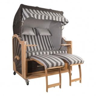 Strandkorb Kampen 2, 5-Sitzer Mocca Set 4 inkl. Industrierollen und Hydraulikdämpfer