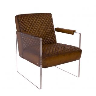 Cocktailsessel Armani Winsconsin Brown Acrylglas Seitenteile Clubsessel Designsessel Armchair