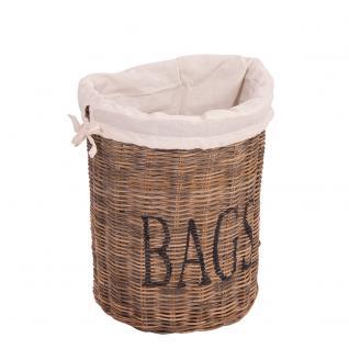 Aufbewahrungskorb Bags Stoffbeutel Schriftzug Korb Rattankorb Naturrattan